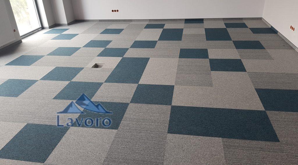 Aranżacja pomieszczenia firmy Lavoro, wykładziny w płytkach dywanowych do firm