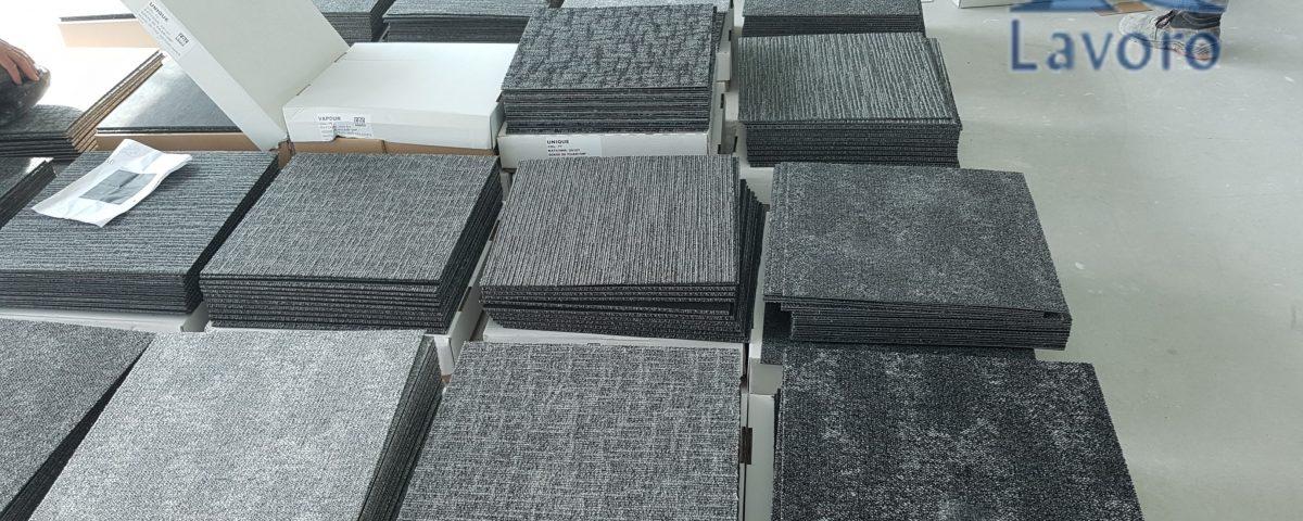 Wykładziny w płytkach dywanowych do firm, wykładziny-lavoro, układanie wykładzin dywanowych, układanie wykładzin w płytkach 50 x 50, układanie wykładzin PCV